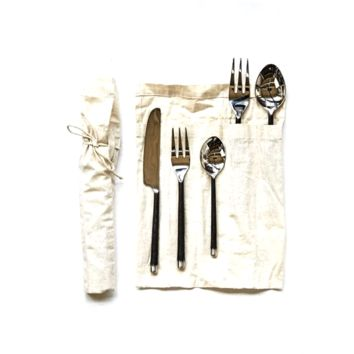 Hand-Forged Stainless Steel Flatware Place Setting, Set of 5, Silver