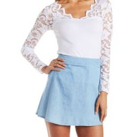Cotton and Scalloped Lace Long Sleeve Top by Charlotte Russe
