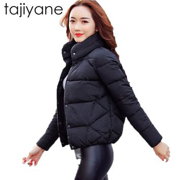 TAJIYANE 2018 New Fashion Spring And Winter Cotton Korean Casual Soild Stand Collar Female Jacket Down Feather Woman Coat  LD031