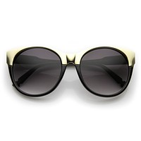 Oversize Womens Round Pointed 2-Tone Cat Eye Sunglasses 9620