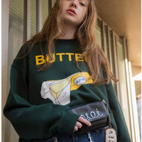 BUTTER Box Round-neck Pullover Tops Hoodies [9695400847]
