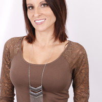 Chaille 3/4 Lace Sleeve Top: Mocha