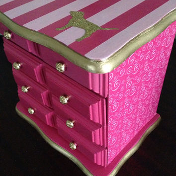 Vintage Jewelry Box Hand Painted And Decoupaged in Victoria's Secret Pink Inspired Design
