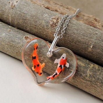 Two Koi Necklace, Tiny Koi Carp Fish Swimming in a Handmade Heart Resin Pendant, Resin Jewelry, Koi Jewelry, Fish Jewelry
