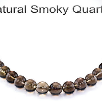 1PN-003 Natural Grade A Smoky Quartz Sterling Silver Unisex Choker Necklace.