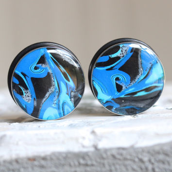 25mm Plugs, Blue Ear Plugs, Art Gauges, Large Plugs, Single Flare, Modified Ears - size 1 inch (25mm)