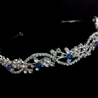 Vines Bridal Tiara, Floral Crown, Crystal Headpiece - ADORNA BLUE