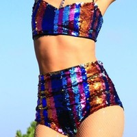 Bang Bang Multicolor Sequin Festival Two-Piece