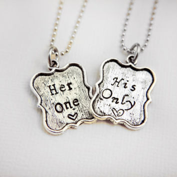 Hand Stamped necklace set The Original Her by StampedMemoriesbyMel