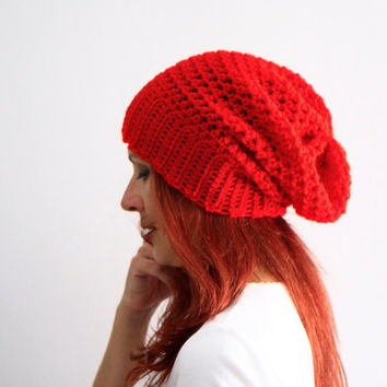 Women chunky crochet hat in red winter fashion for women or teenagers, Clio, vegan friendly