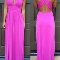 Chiffon Hot Pink Long Prom Dresses