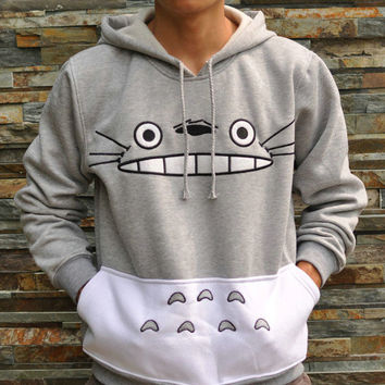 Plus Size Autumn Japanese Totoro Cartoon Animal Print Costume Sportswear Sweatshirt Hoodies with pocket Gray Color 70105