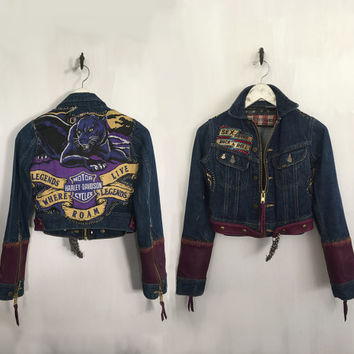 Harley Davidson Jacket customized Vintage Denim Biker Jacket purple leather skull buckle sex drugs rock and roll cropped patch jacket xs