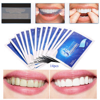 28pcs/14Pair 3D White Dental Bleaching Teeth Whitening Strips Double Elastic Gel Teeth Strips Whitening Oral Hygiene Tools