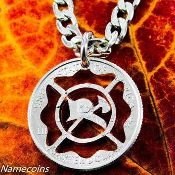 Firefighter Necklace, Firemen Jewelry, Cut Coin by NameCoins