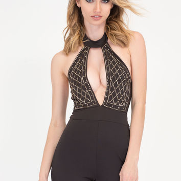 Bling Out Choker Halter Jumpsuit GoJane.com