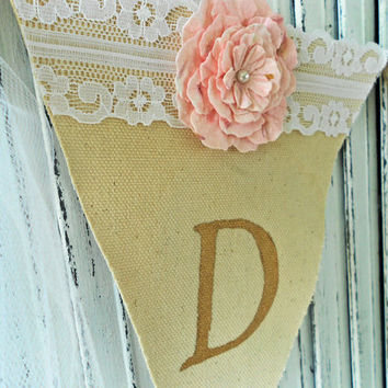 Handmade Inspirational Banner Dream Painted in Gold Letters on Canvas Embellished with Handmade Paper Flowers White Lace
