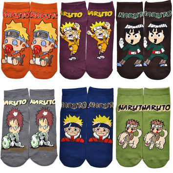 1 pair Cute Japan Anime Naruto Women Socks Uzumaki Naruto Boruto Gaara Print Cotton Socks Accessories