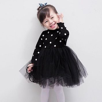 Sun Moon Kids Girl Dresses Turtleneck Long Sleeve Dots Mesh Ball Gown Dresses For Girls Casual 3 Colors Bow Toddler Dress
