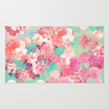 Romantic Pink Retro Floral Pattern Teal Polka Dots  Rug by Girly Trend