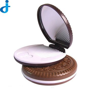 Cute Cookies Mirror With Comb Portable Small Mirror Lady Hand Mirrors Vintage Makeup Pocket Miroir Make Up/Cosmetic Tool SC13