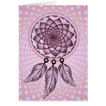Dreamcatcher Design Purple Sacred Geometry Card