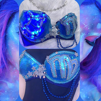 Virgo Zodiac Constellation Bra (LED): stars, astrology, tarot, EDC bra, Rave Outfit, Festival Outfit, Halloween, Costume, Horoscope, EDM