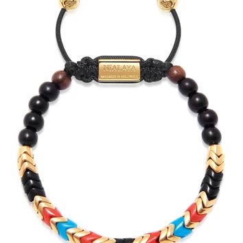 Men's Snake Bead Bracelet - Black, Gold, Turquoise, and Red