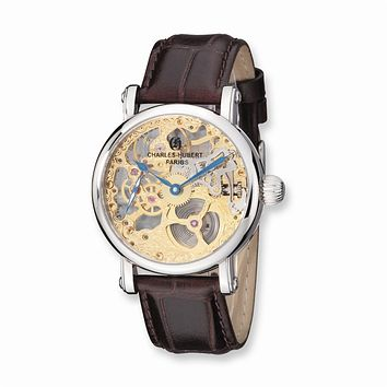 Charles Hubert Mens Stnlss Stl Brown Leather Band Skeleton Dial Watch