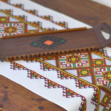 Vintage Table Runner + Matching Tray • Southwestern Print Table Runner • Painted Wooden Tray • Table Linen • Serving Set • African Inspired