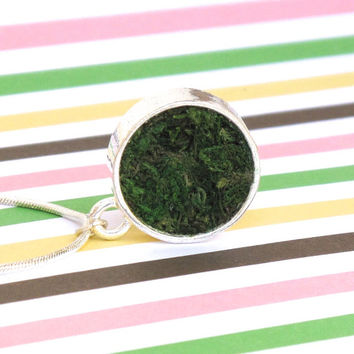 Moss Necklace, Terrarium Necklace, Terrarium Jewelry, Eco Friendly, Garden Gift, Living Plant Jewelry, Earth Day
