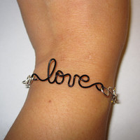 Infinity Love Bracelet Silver Plated and Black Copper Wire Bridal Wedding Gift