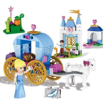 Friends For Girl Building Blocks Princess Cinderella's Pumpkin Carriage 37002 Set Toy Compatible With Duploe 41053