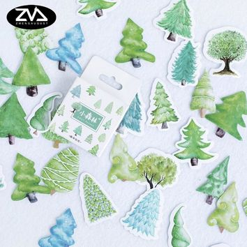 45 pcs/box Kawaii Small forest mini paper stickers Diary decoration diy scrapbooking label seal Hand account sticker stationery