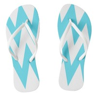 Blue and White Chevron White Strap Flip Flops