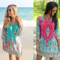 Bohemian Printed Ethnic Style Summer Beach Dress