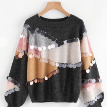 Color Block Sequin Sweater