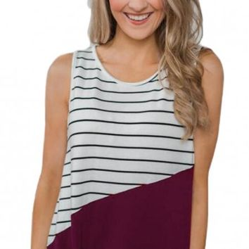 Red Time of Our Lives Striped Tank Top