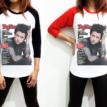 Unisex - Billie Joe Armstrong Roll Billboard Music Men Women Long Sleeve Baseball Shirt Tshirt Jersey