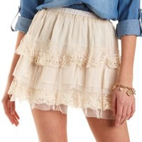 Tiered Tulle & Lace Skater Skirt by Charlotte Russe - Off White