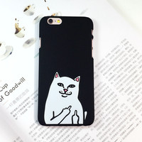 Weird Finger White Cat Pc plastic hard case for iphone 6 6s 6plus 6splus 7 7Plus 5s