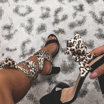 On the Prowl Black & Leopard Tie up Heel