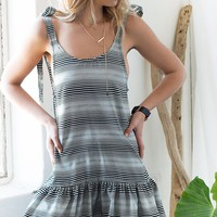 Fleur De Lis Dress Optic Stripe Black And White