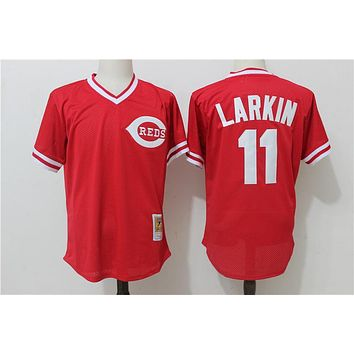 Men's Cincinnati Reds Barry Larkin Mitchell & Ness Red Throwback Cooperstown Mesh Batting Practice Jersey