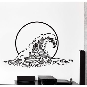 Vinyl Wall Decal Japanese Style Waves Japan East Ethnic Style Big Cozy Decor Unique Gift z4445