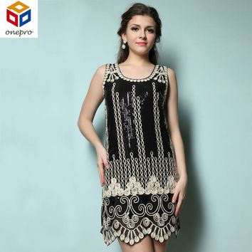 Women Gatsby Charleston Flapper Dress Sequin Embroidery Gown Scalloped Hem Tank Sleeveless Mini Sundress