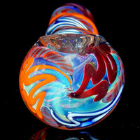 Glass Pipe - Quad Ball Shape Colorful Unique Design Silver Fumed Bowl with Maroon Orange and Electric Blue Inside Out Swirls