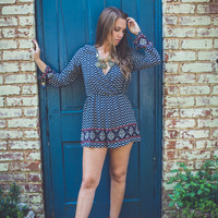 Abstract Romper in Navy