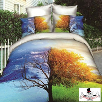 3D Winter Summer Tree Bedding Set and Quilt Cover