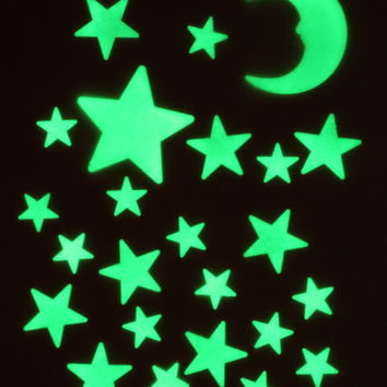 Starry Starry Night Stick-On Glow Moon Stars